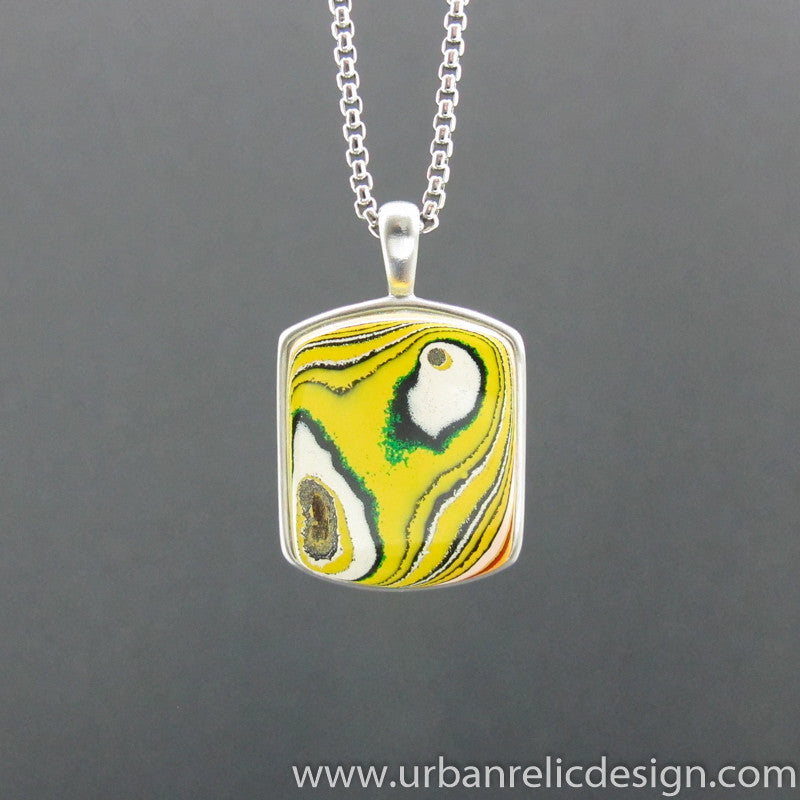 Stainless Steel and Powdercoat Fordite Necklace #2036