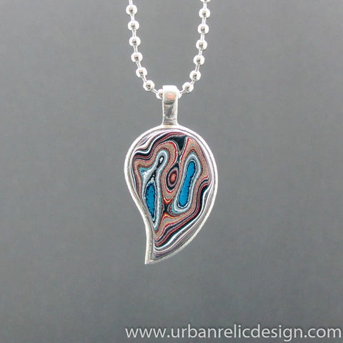 Stainless Steel and Motor Agate Fordite Necklace #2072