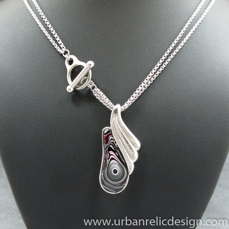 Stainless Steel and Motor Agate Fordite Necklace #2073