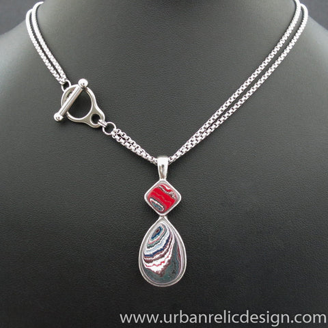 Stainless Steel and Motor Agate Fordite Necklace #2088