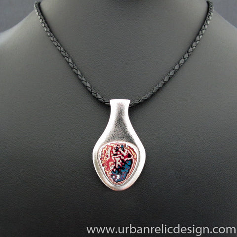 Stainless Steel and Motor Agate Fordite Necklace #2089