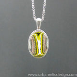 Stainless Steel and Bumblebee Powdercoat Fordite Necklace #2101