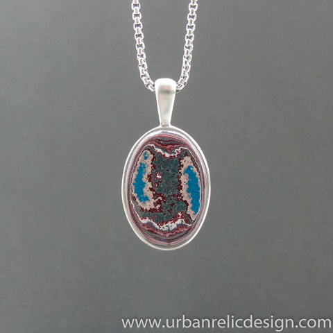 Stainless Steel and Motor Agate Fordite Necklace #2103