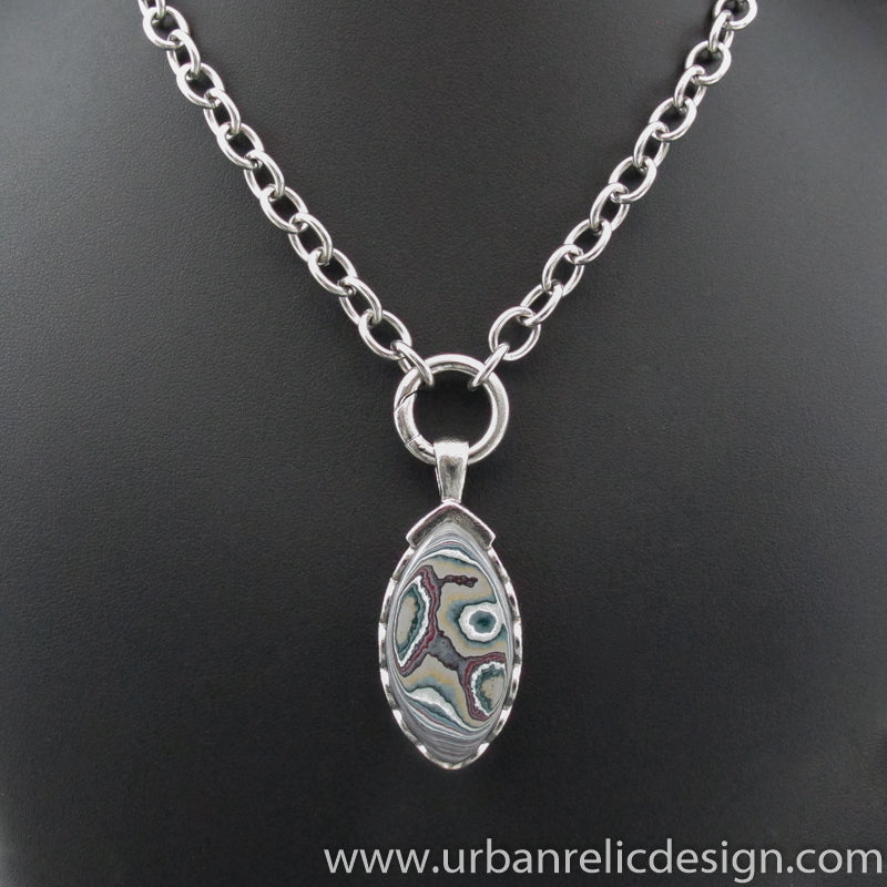Stainless Steel and Motor Agate Fordite Necklace #2114
