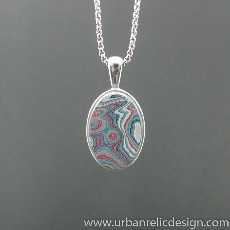 Stainless Steel and Motor Agate Fordite Necklace #2118