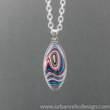 Stainless Steel and Motor Agate Fordite Necklace #2146