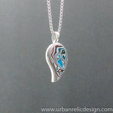 Stainless Steel and Motor Agate Fordite Necklace #2148