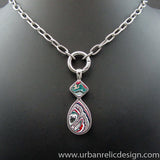 Stainless Steel and Motor Agate Fordite Necklace #2149