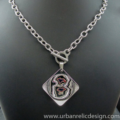 Stainless Steel and Motor Agate Fordite Necklace #2152