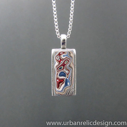 Stainless Steel and Motor Agate Fordite Rectangle Necklace #2155