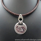 Stainless Steel and Motor Agate Fordite Necklace #2178