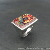 Stainless Steel and Motor Agate Fordite Large Rectangle Ring #1967