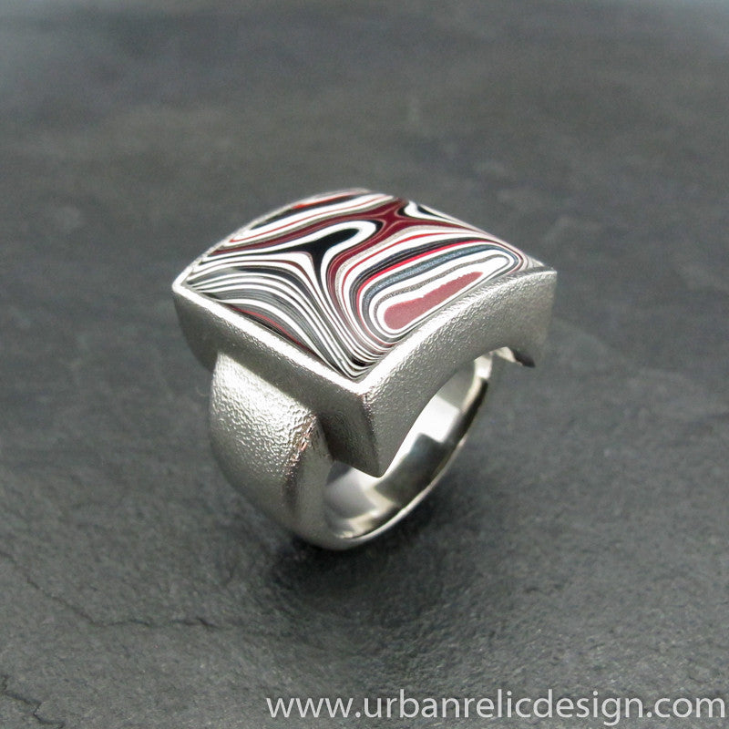 Stainless Steel and Motor Agate Fordite Large Ring #1987