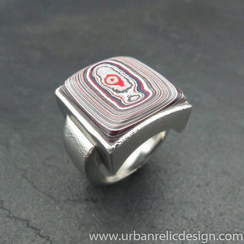 Stainless Steel and Motor Agate Fordite Large Ring #2008