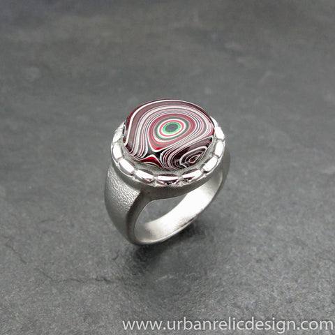 Stainless Steel and Motor Agate Fordite Ring #2009