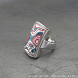 Stainless Steel and Motor Agate Fordite Ring #2077