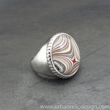 Stainless Steel and Motor Agate Fordite Ring #2079