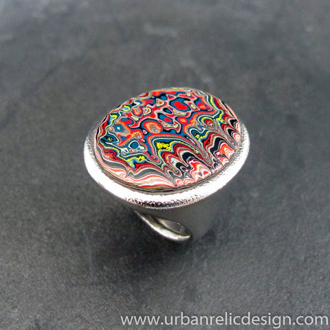 Stainless Steel and Motor Agate Fordite Biggie Ring #2136