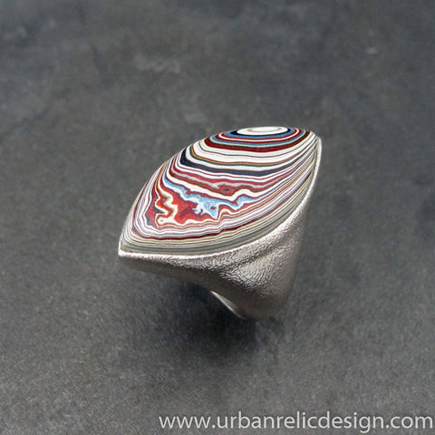 Stainless Steel and Motor Agate Fordite Biggie Ring #2137a