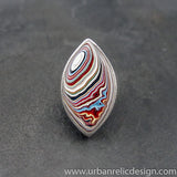 Stainless Steel and Motor Agate Fordite Large Ring #2137