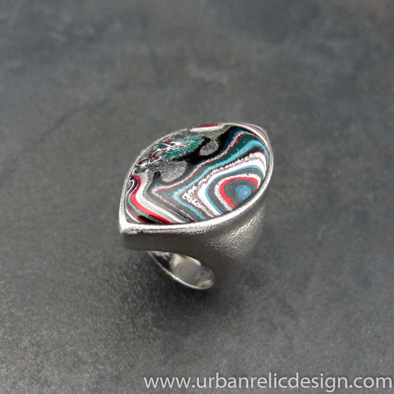 Stainless Steel and Motor Agate Fordite Large Ring #2138