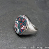 Stainless Steel and Motor Agate Fordite Ring #2139