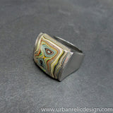 Stainless Steel and Motor Agate Fordite Ring #2140