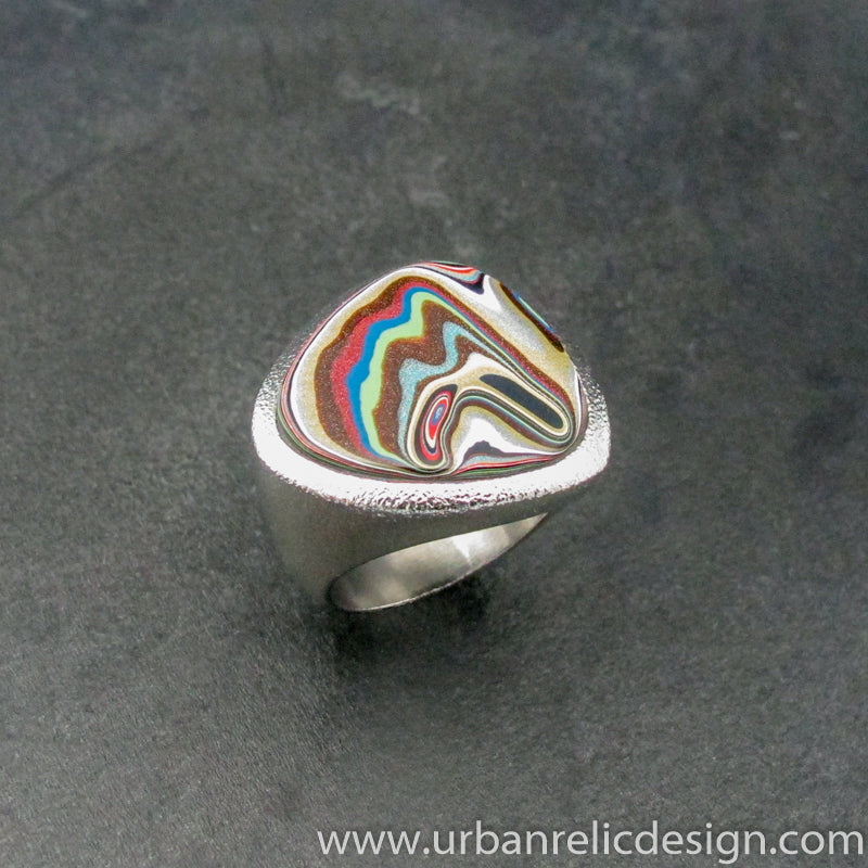 Stainless Steel and Motor Agate Fordite Freeform Ring #2156