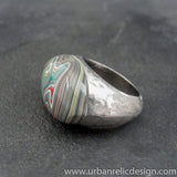Stainless Steel and Motor Agate Fordite Ring #2169
