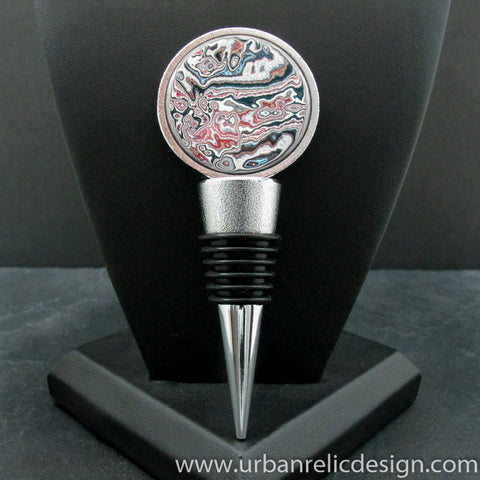 Zinc Alloy and Motor Agate Fordite Wine Stopper #2110