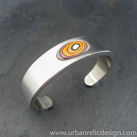 Stainless Steel and Motor Agate Fordite Cuff Bracelet #2130