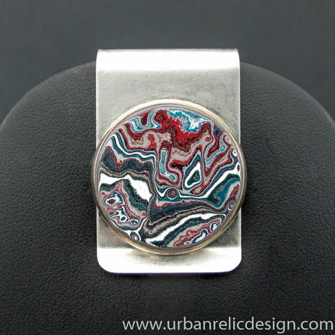 Stainless Steel and Motor Agate Fordite Money Clip #2132