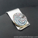 Stainless Steel and Motor Agate Fordite Money Clip #2167