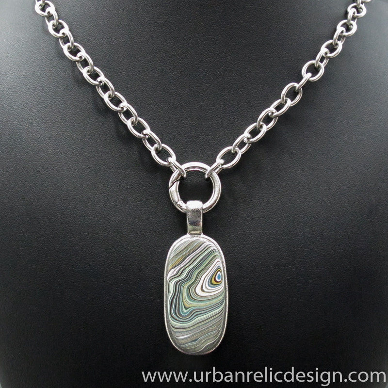 Stainless Steel and Motor Agate Fordite Necklace #2092