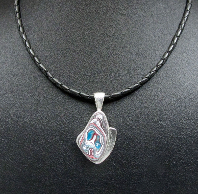 Sterling Silver and Motor Agate Fordite Necklace #1714
