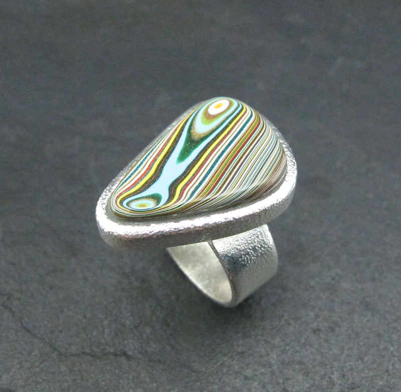 Sterling Silver and Motor Agate Fordite Freeform Ring #1698