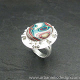 Sterling Silver and Motor Agate Fordite Oval Ring #1853