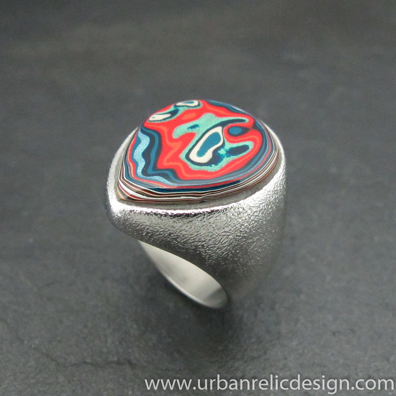 Stainless Steel and Motor Agate Fordite Freeform Ring #1890