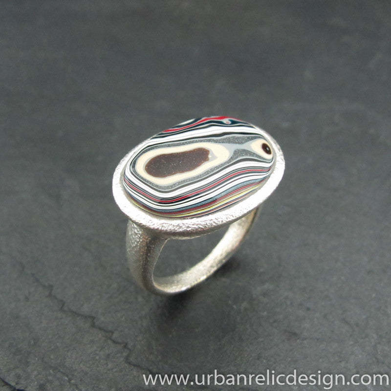 Sterling Silver and Motor Agate Fordite Oval Ring #1940