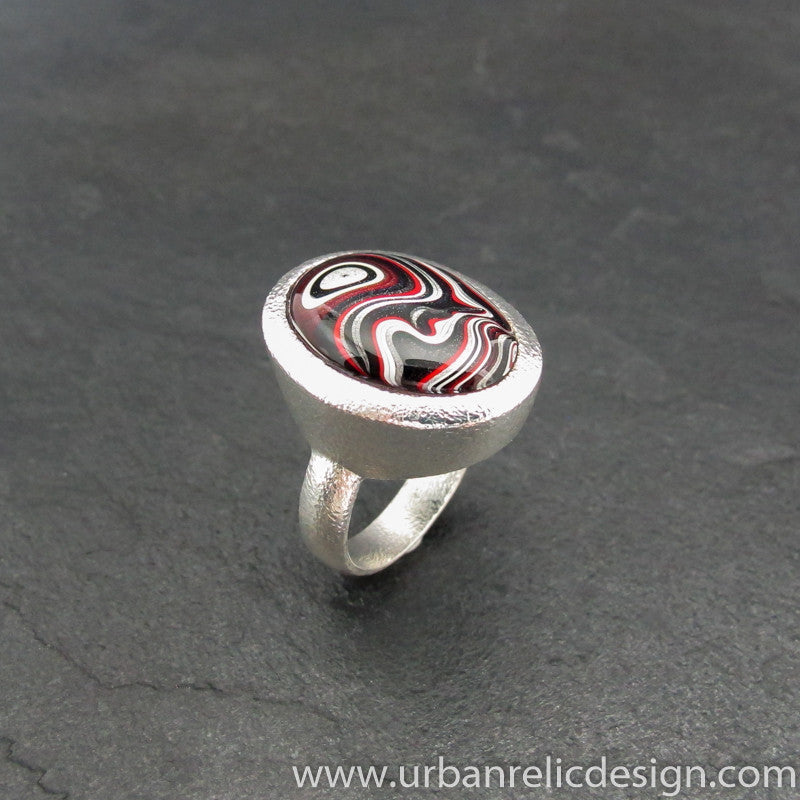 Sterling Silver and Motor Agate Fordite Oval Ring #1986