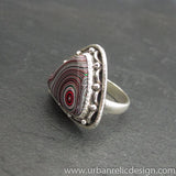 Sterling Silver and Motor Agate Fordite Ring #2026
