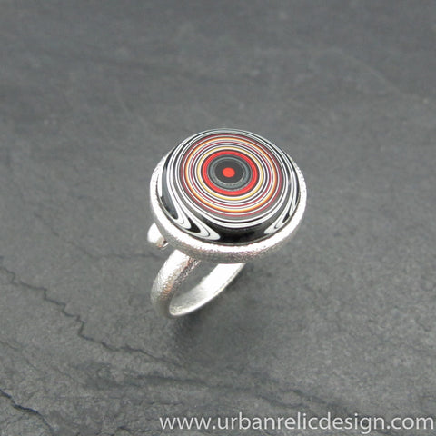 Sterling Silver and Motor Agate Fordite Ring #2042