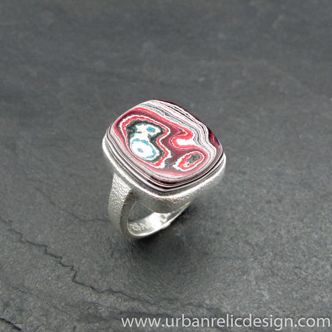 Sterling Silver and Motor Agate Fordite Ring #2046
