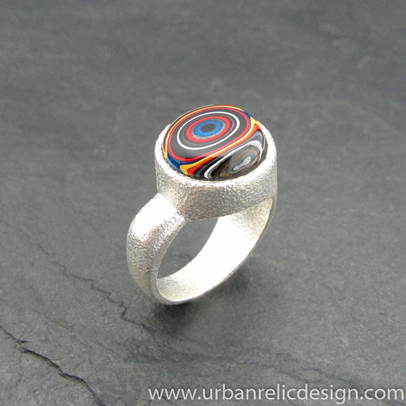 Sterling Silver and Motor Agate Fordite Ring #2058
