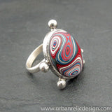 Sterling Silver and Motor Agate Fordite Oval Ring #2059