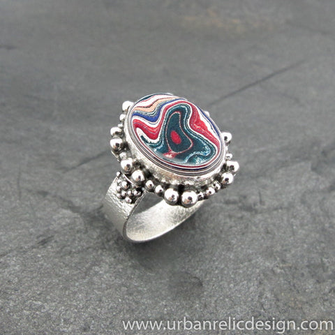 Sterling Silver and Motor Agate Fordite Oval Ring #2064