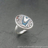 Sterling Silver and Motor Agate Fordite Oval Ring #2106