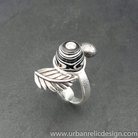 Sterling Silver and Motor Agate Fordite Ring #2120