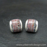 Sterling Silver and Motor Agate Fordite Domed Inlay Cufflinks #1771