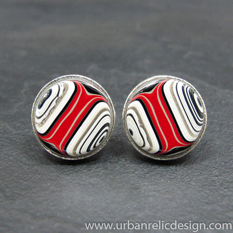 Sterling Silver and Motor Agate Fordite Round Cufflinks #1991